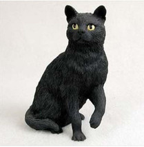 BLACK SHORTHAIRED TABBY CAT Figurine Statue Hand Painted Resin Gift - $17.25