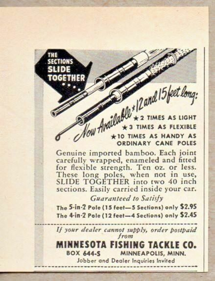 Primary image for 1951 Print Ad Bamboo Fishing Rods Minnesota Tackle Minneapolis,MN