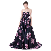 Floral Print Sweetheart Ball Gown Long Maxi Dresses Formal Prom Evening Dresses - $126.53
