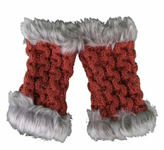 Bench Urbanwear Helm Fingerless Knitted Red O/S Gloves W/ Faux Fur Trim Edge