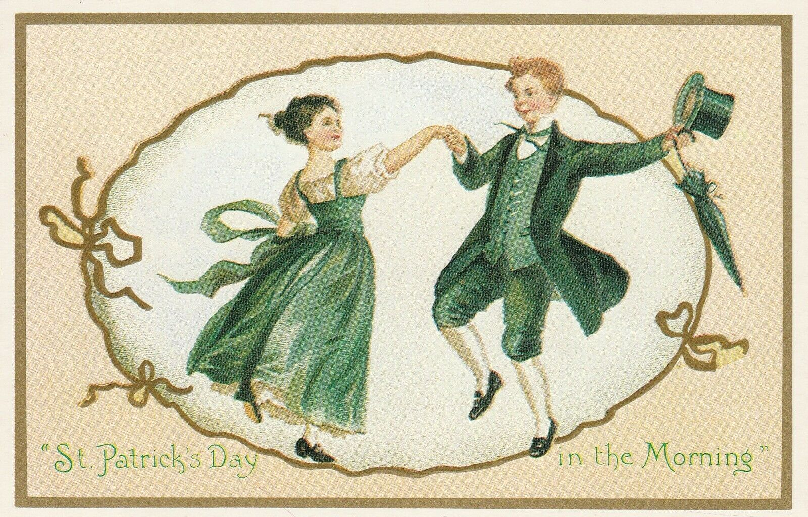 Vintage Postcard St. Patrick's Day Dancing Couple Unused Reproduction