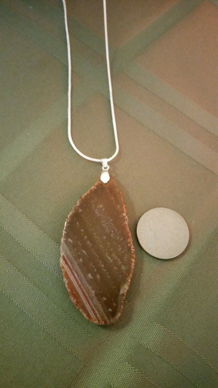 Necklace, Natural Slice of Agate Browns 24 inch 925 Sliver Chain Marked Boho  image 5