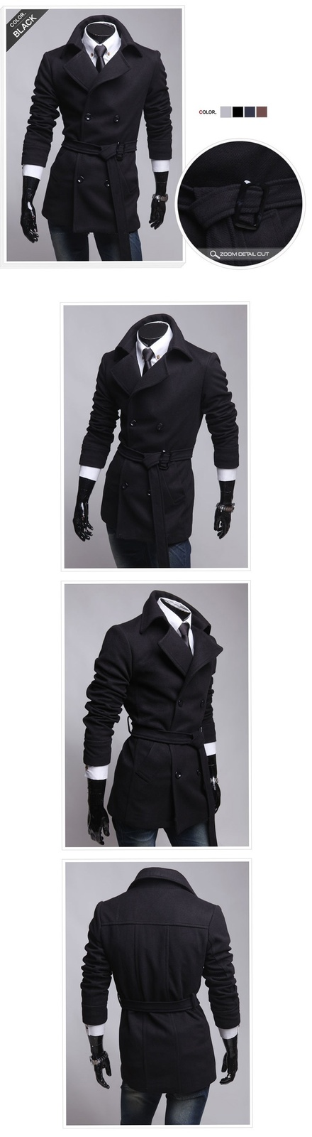 New Korean double breasted coat man coat of British fashion self-cultivation sol
