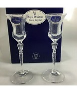 "Royal Doulton Oxford Candlestick Pair 7 1/2"" Austrian Crystal NEW in Box - $47.53"