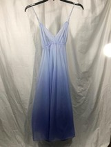 Vanity Fair Vintage Chiffon Blue Ombre Spaghetti Strap Long Night Gown 34 M - $55.96