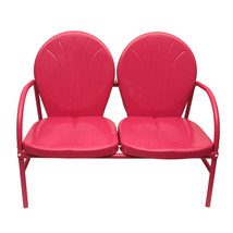 Rich Pacific Pink Retro Metal Tulip 2-Seat Double Chair - $162.10