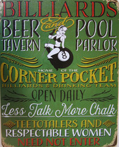 Billiards Beer Tavern Pool Parlor Metal Sign - $24.95