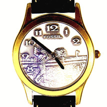 Fossil Golf Brass And Silver Tone Collectable Dress Brown Leather Band W... - $87.96