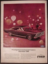 1966 Ford Fairlane 500 Print Ad Family Entertainment Center Maroon color - $7.99
