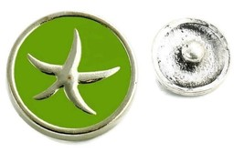 Interchangeable Button Snap Jewelry Green Silver Tone Starfish Charm 18m... - $5.92