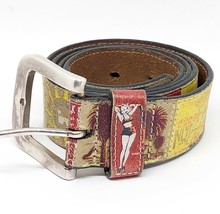 Fossil Women's Beach Resort Leather Belt Size Medium Pin-up Girl Surfer ... - $15.12