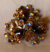 "BEAUTIFUL 1950s Vintage 2"" Pin Brooch Amber Topaz Aurora Rhinestone Bras... - $65.00"