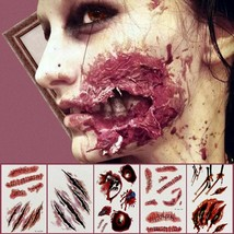 Halloween Party Decoration Zombie Scars Tattoos with Fake Scab Bloody Makeup - $3.95