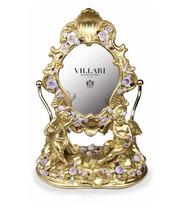 Villari Porcelain MIRROR IN THE GARDEN ANTIQUE GOLD - COLOURED FLOWER NEW - $4,257.00