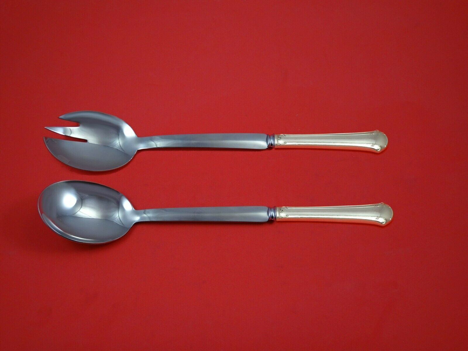 "Primary image for Chippendale by Towle Sterling Silver Salad Serving Set Modern 10 1/2"" Custom"