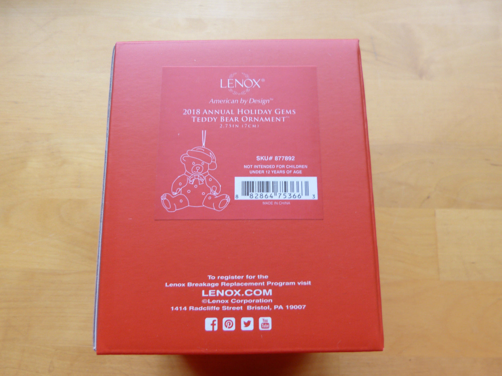Lenox 2018 Holiday Gems Annual Ornament Teddy Bear Figurine Christmas Gift NEW