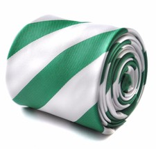 Frederick Thomas dark green and white barber striped mens tie FT1727 Celtic