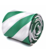 Frederick Thomas dark green and white barber striped mens tie FT1727 Celtic - $13.08