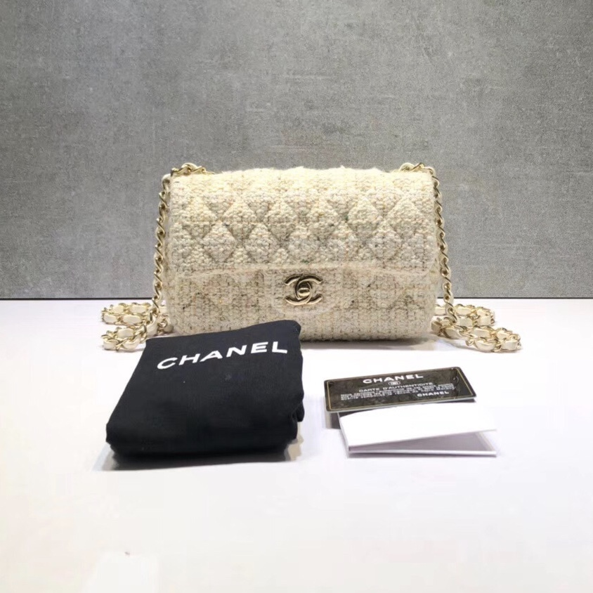 AUTHENTIC NEW Chanel 2019 Beige Quilted Tweed Large Mini 20CM Classic Flap Bag