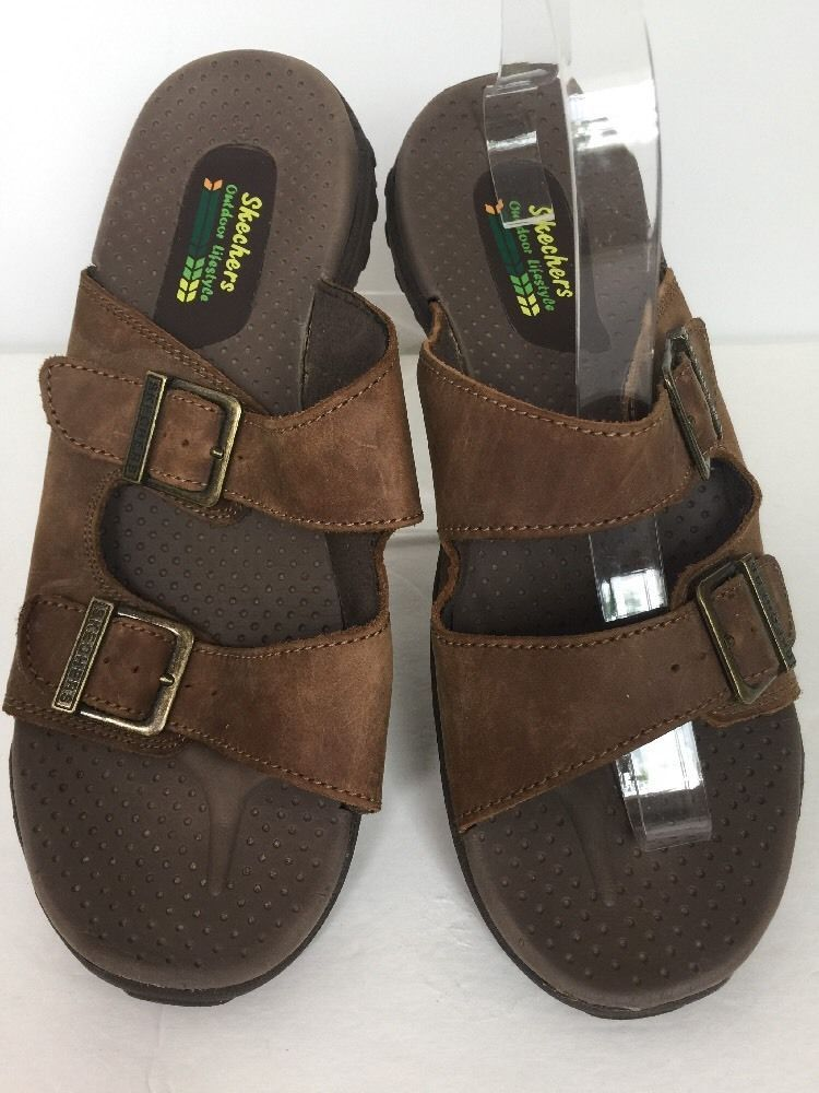 SKECHERS OUTDOOR LIFESTYLE WOMEN SHOE 9 BROWN LEATHER BUCKLE SLIDES SANDALS