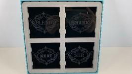 Black Glass Drink Coasters Grassland Road The Art of Entertaining Set 4 NIB - $10.84