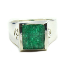 Natural Indian Emerald Men Ring Bold Sterling Silver Handcrafted Sizes 4... - £23.02 GBP