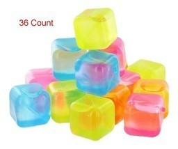 36 Piece Plastic Reusable Ice Cubes Coolers Refreeze Pool Party BPA FREE - £8.62 GBP