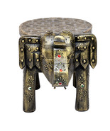 Wooden Brass FTD Home Decor Stool Elephant Shape Decorative Baby Sitter ... - $52.95