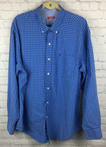 Izod Men's XL Button Up Shirt Long Sleeve Blue White Check Embroidered Logo - $13.10