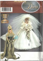 7077 UNCUT Simplicity Sewing Pattern Fashion Doll Clothes Wedding Gown E... - $14.99