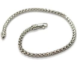 Bracelet or Blanc 18K 750, Jersey Panier, 3 mm, Longueur 19 CM image 1