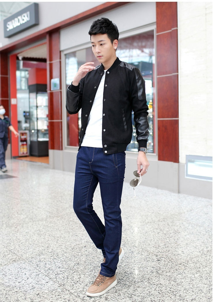 2018 Europe and The United States Men's Fashion Tight Fitting Button Pu Jacket