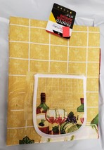 "Fabric Kitchen Apron with pocket, (23"" x 31"") WINE & GRAPES by CV - $10.88"