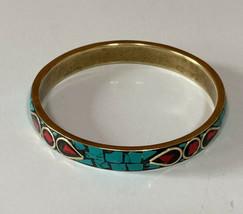 Mosaic Turquoise Coral Brass Bangle Vintage Boho Bracelet - $15.84