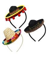 3 PCs Cinco De Mayo Fiesta Fabric and Straw Sombrero Headbands Party Cos... - $22.99