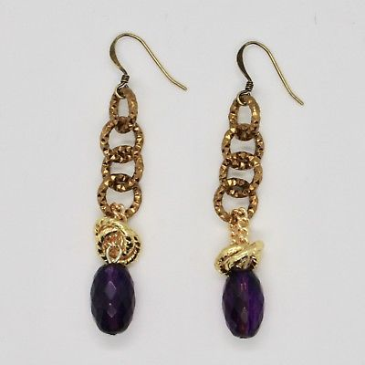 DROP EARRINGS ALUMINUM LAMINATED YELLOW GOLD WITH AMETHYST PURPLE OVAL