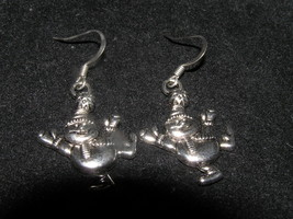 Estate Happy Jolly SNOWMAN Carved Silvertone Dangle Earrings for Pierced... - $6.97