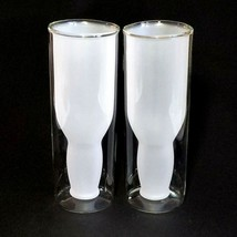 2 (Two) HIGHWAVE Double-Wall Australian Beer Glasses Frosted Upside Down... - $28.49