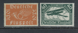 1919 Posthorn and Biplane Set of 2 Germany Airmail Stamps Catalog C1-2 MNH