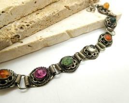 Vintage Tibetan Silver Gemstone Cabochon Flower Link Bracelet R18 - $30.68
