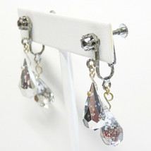 Vintage Dangle Earrings Teardrop Faceted Crystals with Silver Overlay Screwbacks - $8.50