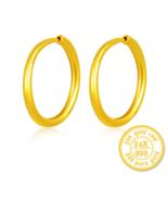 ZZZ 24k Pure Gold Hoop Earrings For Women Noble Atmosphere Shining - $200.99