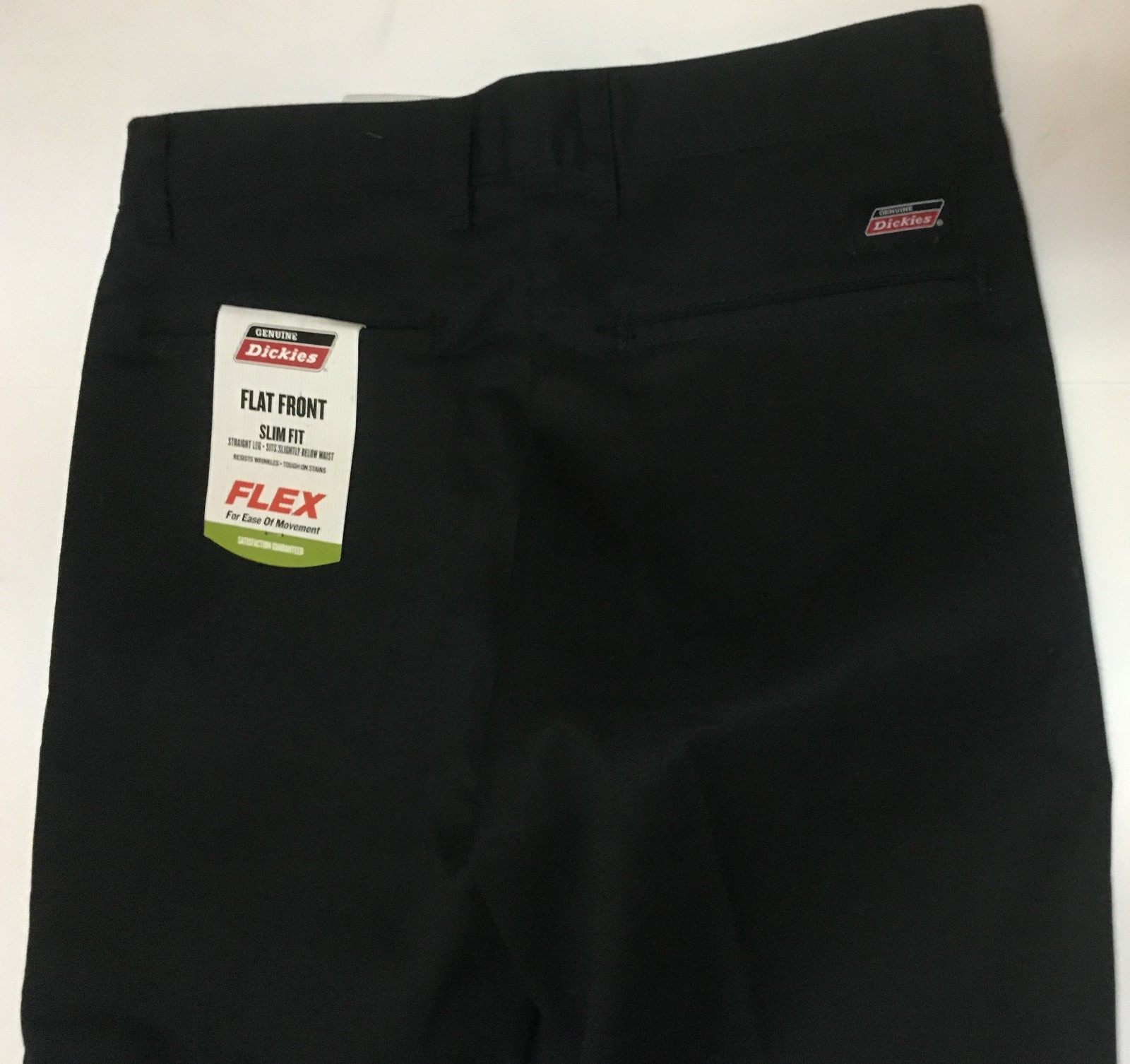 Dickies Genuine Flat Front Slim Fit Flex Pants Black Sz 30 x 32