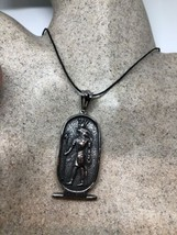 Vintage Silver Stainless Steel Egyptian Horus Amulet Necklace - $64.35