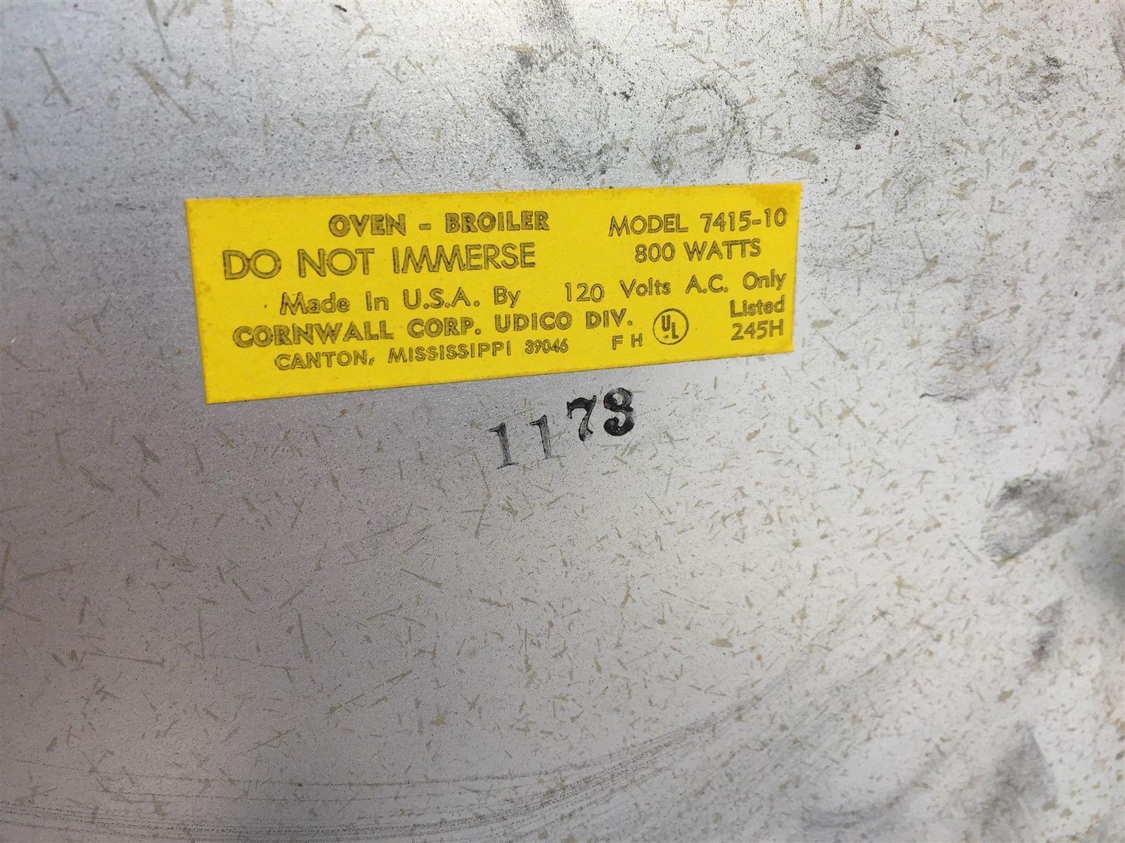 Vintage Udico Broilmaster Oven-Broiler 7415-10 800W 120V
