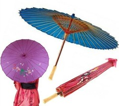 Japanese Chinese Umbrella Art Deco Painted Parasol Assorted Colors  - $8.97