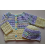 Crochet Pattern Baby Sweater and Hat, baby shower gift, sweater jacket cardigan  - $1.69