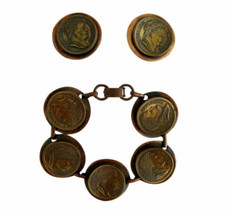 Vintage Chunky Brass Napoleon Coins on Copper Link Bracelet & Earring Cl... - $85.00