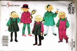 Uncut 1991 Vogue Pattern 8156 Child's Pinafore, Jumpsuit, Dress, Sz 1-2-3 - $12.00