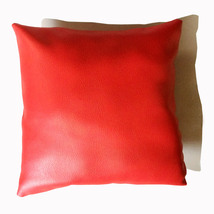 Red Square Genuine Lambskin Pure Leather Pillow Best Quality Cushion Cover  - $35.00